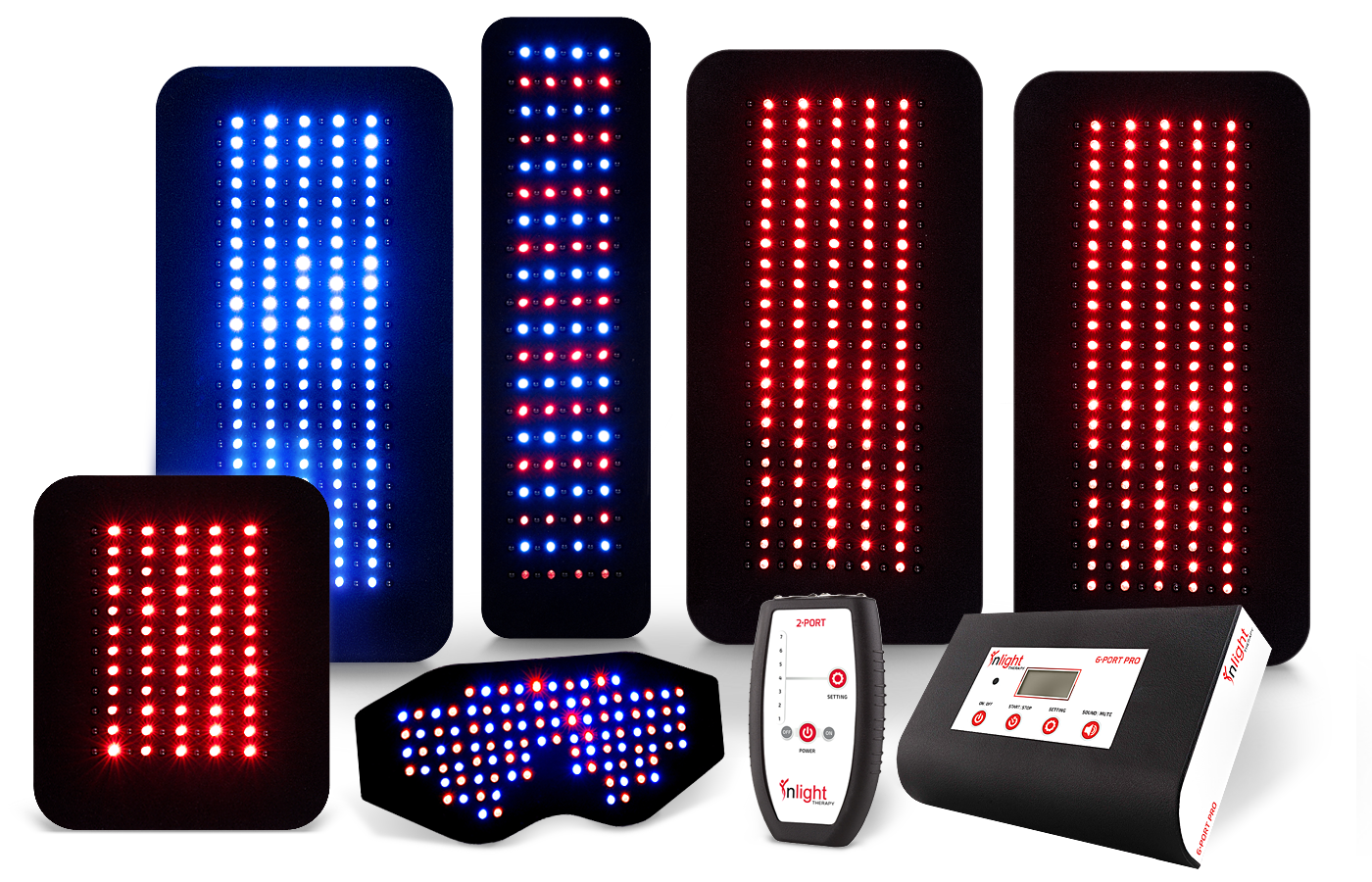 Inlight Therapy Inc. LED light system with 6 port controller a 2 port controller and 6 LED pads